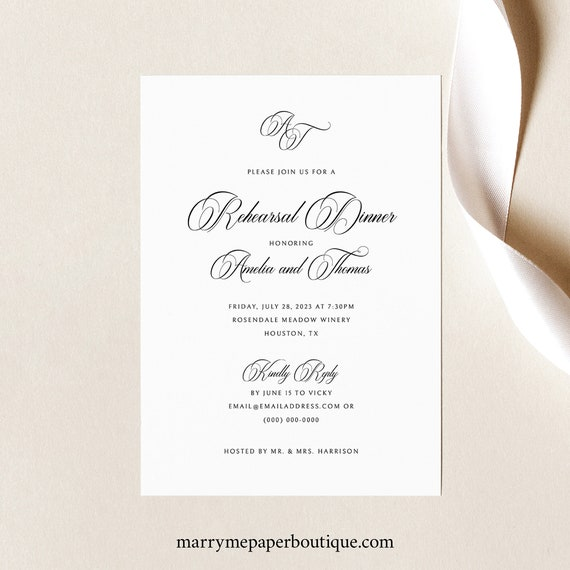 Rehearsal Dinner Invitation Template, Traditional Wedding, Calligraphy Monogram, Rehearsal Invite Printable, Templett INSTANT Download