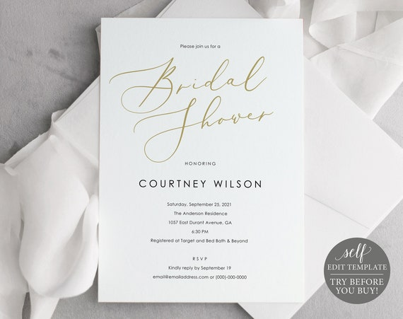 Bridal Shower Invitation Template, Elegant Gold, 100% Editable Instant Download, TRY BEFORE You BUY