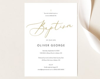 Baptism Invitation Template,  Editable Baptism Invite Printable, Calligraphy, Instant Download, TRY BEFORE You BUY