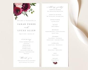 Wedding Program Template, Try Before Purchase, Tall Program Printable, Templett Instant Download, Burgundy Flowers