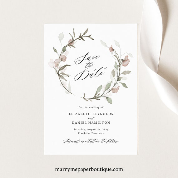 Blush Floral Save the Date Card Template, Greenery, Save Our Date, Printable, Templett INSTANT Download, Editable