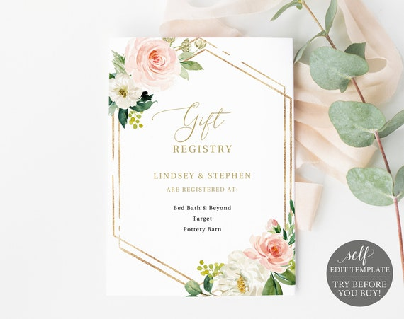 Wedding Registry Card Template, TRY BEFORE You BUY, Editable Instant Download, Blush Floral Hexagonal