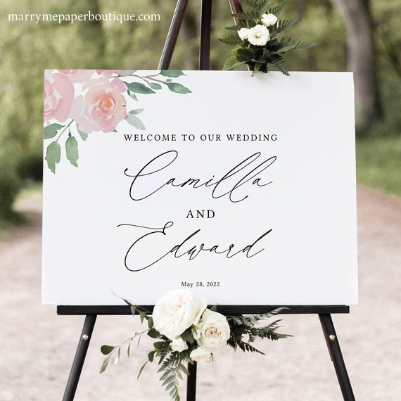 Wedding Welcome Sign Template, Elegant Blush Floral, Editable & Printable, Instant Download, Try Before Purchase