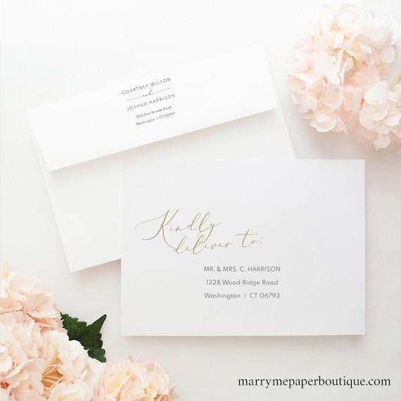 Envelope Address Template, Elegant Gold Script, Envelope Address Printable, Templett, Editable, INSTANT Download