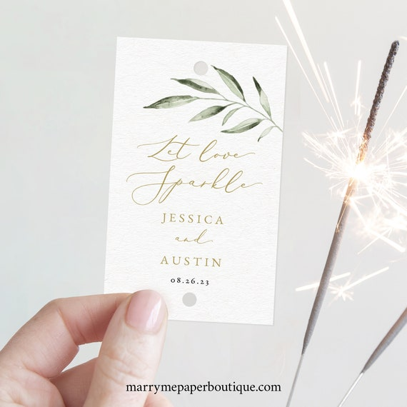 Sparkler Tag Template, Greenery Leaves, Editable Printable Instant Download, Demo Available