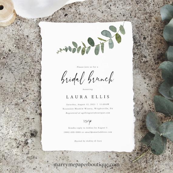Bridal Brunch Invitation Template, Eucalyptus Greenery, Printable Bridal Shower Brunch Invite, Editable, Templett INSTANT Download
