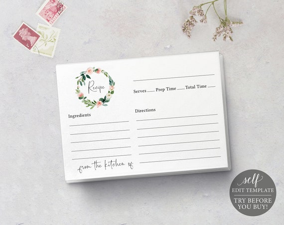 Recipe Card Template, Floral Greenery, Editable Instant Download, TRY BEFORE You BUY