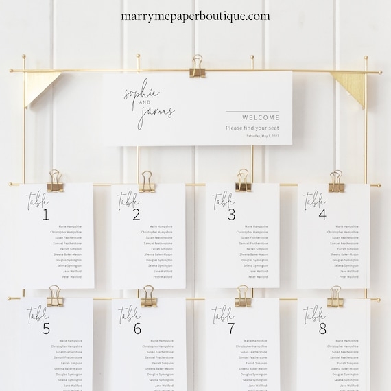 Wedding Seating Chart Template, Minimalist Elegant, Editable & Printable Seating Cards, Instant Download, Try Before Purchase