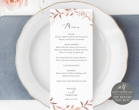 Wedding Menu Template, TRY BEFORE You BUY, Fully Editable Instant Download, Rose Gold Leaf
