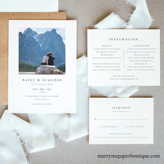 Photo Wedding Invitation Set Templates, Modern Invitation Printable, Details RSVP, Editable Templett Instant Download, Try Before Purchase