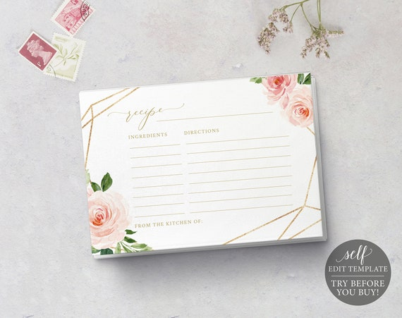 Recipe Card Template, TRY BEFORE You BUY, 100% Editable Instant Download, Blush Floral Geometric