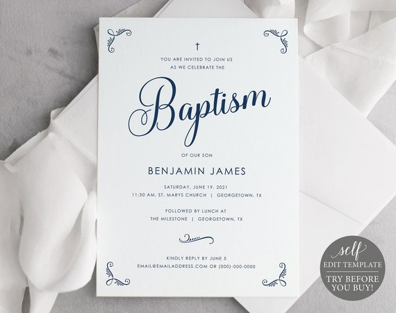Baptism Invitation Template, Free Demo Available, Editable Instant Download, Rustic Navy