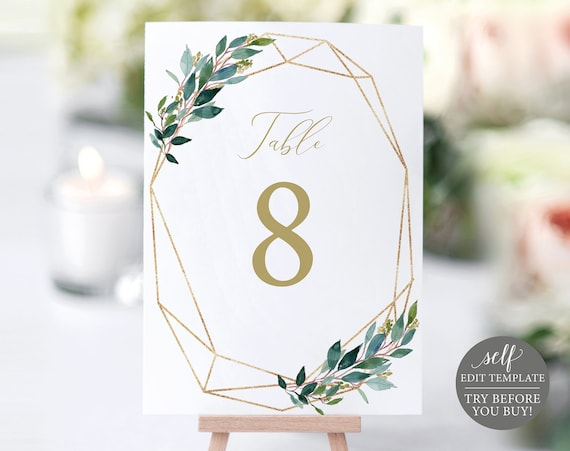 TRY BEFORE You Buy! Table Number Template, Wedding Printable, 100% Editable Instant Download