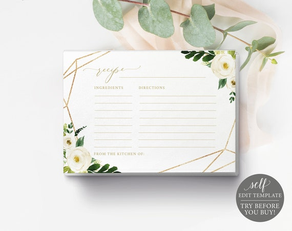 Recipe Card Template, Fully Editable Instant Download, TRY BEFORE You BUY, White Floral Geometric