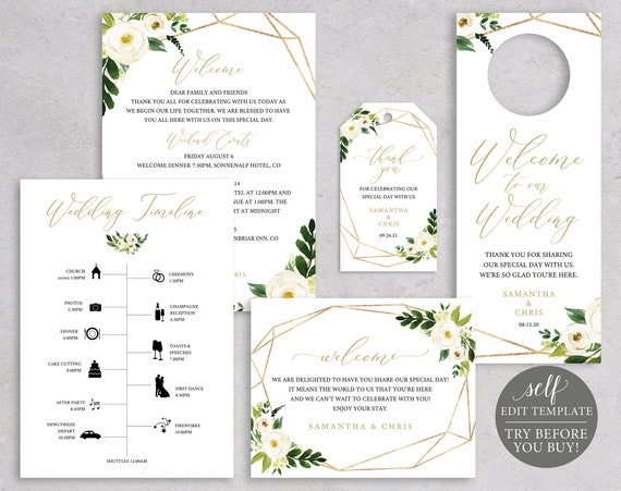 Wedding Guest Welcome Bag Templates, TRY BEFORE You BUY, Editable Instant Download, White Floral
