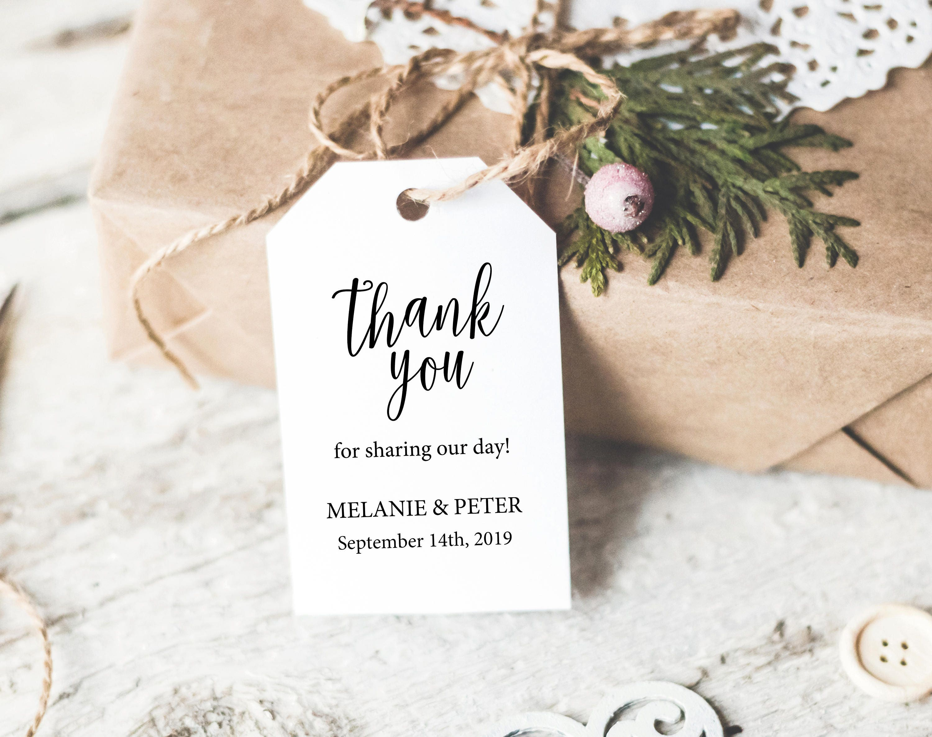 Thank You Tag Template Wedding Thank You Tag Rustic Favor Tag