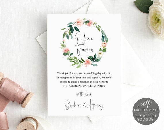 In Lieu of Favors Card Template, Editable Instant Download, TRY BEFORE You BUY, Floral Greenery