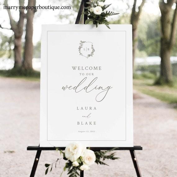 Wedding Welcome Sign Template, Botanical Crest, Elegant Wedding Sign, Printable, Fully Editable, Templett INSTANT Download