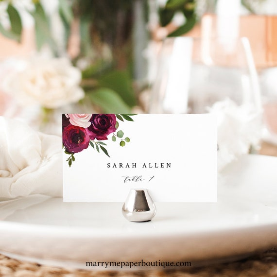 Place Card Template, Try Before You Buy, Editable Seating Card Printable, Templett Instant Download, Burgundy Flowers