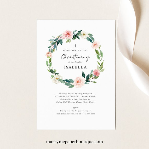 Christening Invitation Template, Blush Floral Greenery, Printable Christening Invite, Editable, Templett INSTANT Download