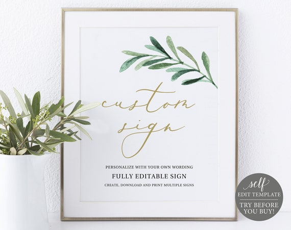 Create MULTIPLE Signs Template, 8x10 Editable Instant Download, TRY BEFORE You Buy, Greenery Leaf