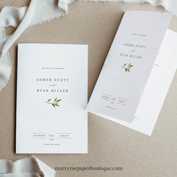 Greenery Wedding Program Template, Green Leaf, Folded Program Printable, Templett Editable, Instant Download