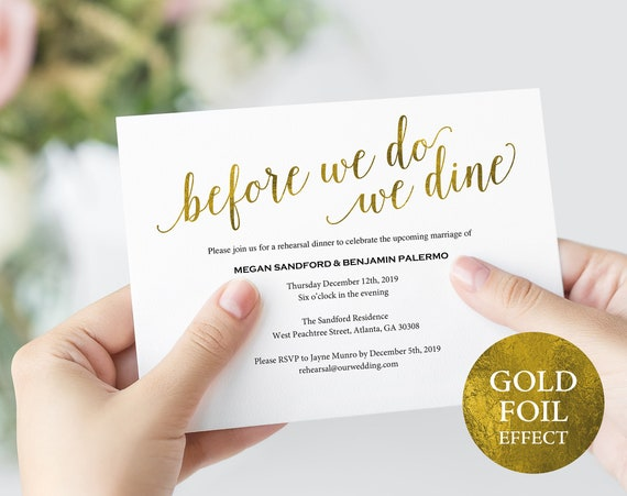 Faux Gold Rehearsal Dinner Invitation Template, Printable Rehearsal Dinner Invitation, Gold Wedding Rehearsal, PDF Instant Download, MM01-3