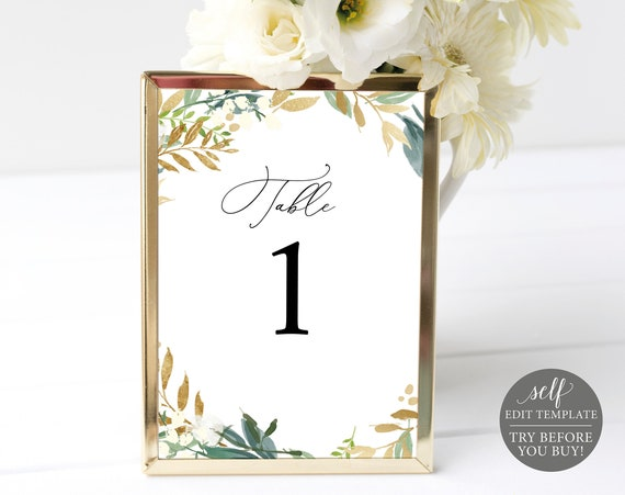 Table Number Template, Fully Editable Instant Download, Gold & Greenery, TRY BEFORE You BUY