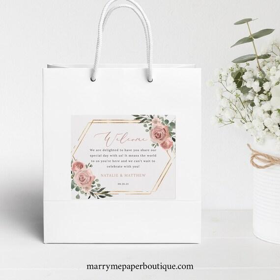 Wedding Guest Bag Label Template, Dusky Pink Floral, Wedding Welcome Bag Label Printable, Hotel Bag Label, Templett INSTANT Download