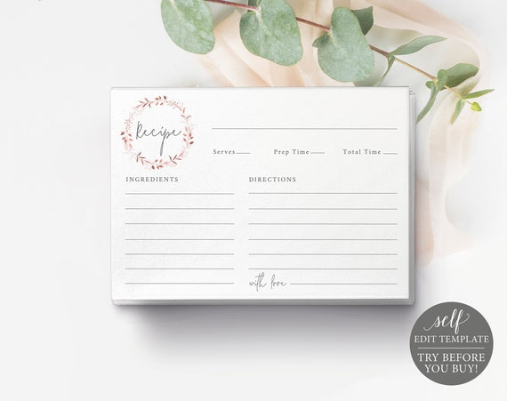 Recipe Card Template, TRY BEFORE You Buy, Templett, Editable & Printable Instant Download, Rose Gold Wreath
