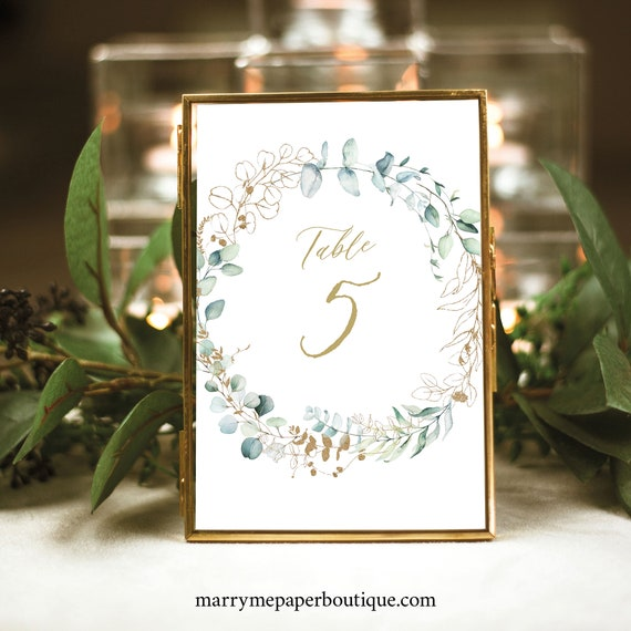 Table Number Sign Template, Gold & Greenery, Printable Table Number, Templett, Editable, INSTANT Download