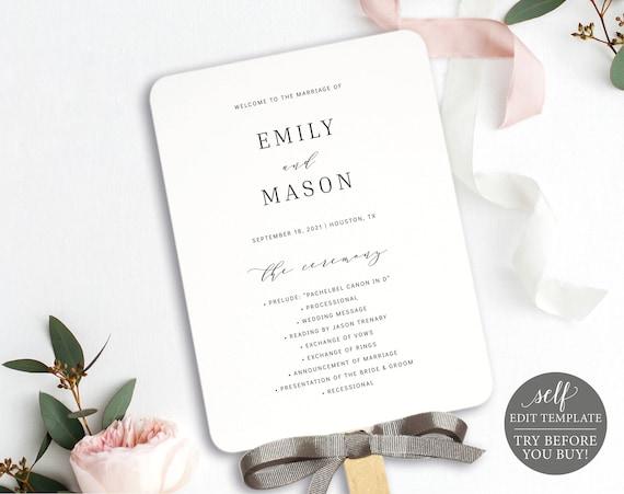 Wedding Program Fan Template, 100% Editable Instant Download, Formal & Elegant, TRY BEFORE You BUY
