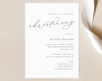 Christening Invitation Template, Luxury Calligraphy, Elegant Christening Invite, Printable, Templett INSTANT Download, Editable