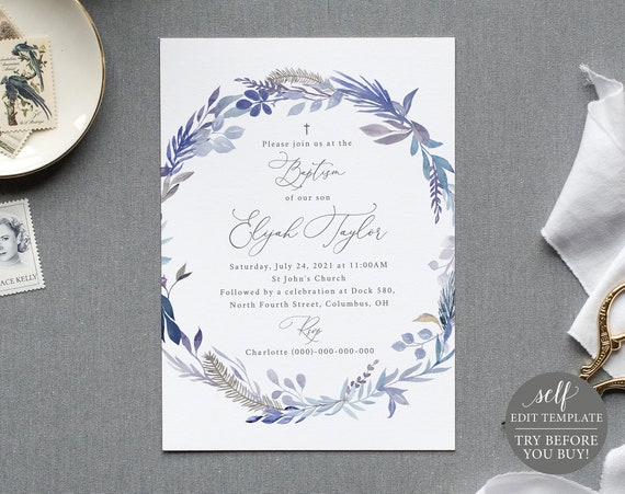 Baptism Invitation Template, 100% Editable Instant Download,TRY BEFORE You BUY, Lavender Blue Floral