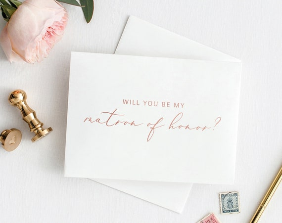 Will You Be My Matron of Honor Card, Printable Matron of Honor Template, Card to Matron of Honor, Rose Gold, PDF Instant Download MM08-2