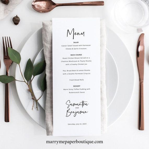 Minimalist Wedding Menu Template, Modern Calligraphy Dinner Menu Card Printable, Fully Editable, Templett INSTANT Download