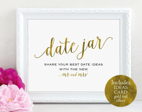 Gold Date Jar Sign and Card, Mr and Mrs, Date Ideas, Date Jar Wedding Sign, Wedding Printable, Date Jar Card, PDF Instant Download, MM01-3