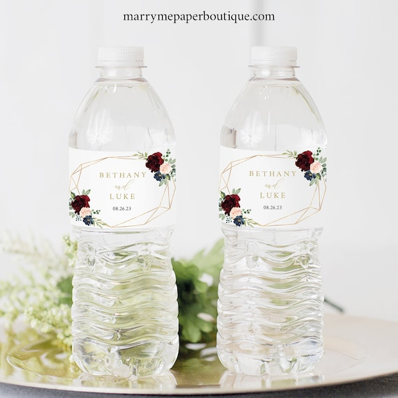 Water Bottle Label Template, Printable Editable Instant Download, Demo Available, Burgundy Geometric