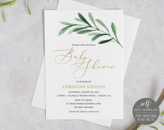 Baby Shower Invite Template, TRY BEFORE You BUY, Editable Instant Download, Greenery Olive Branch