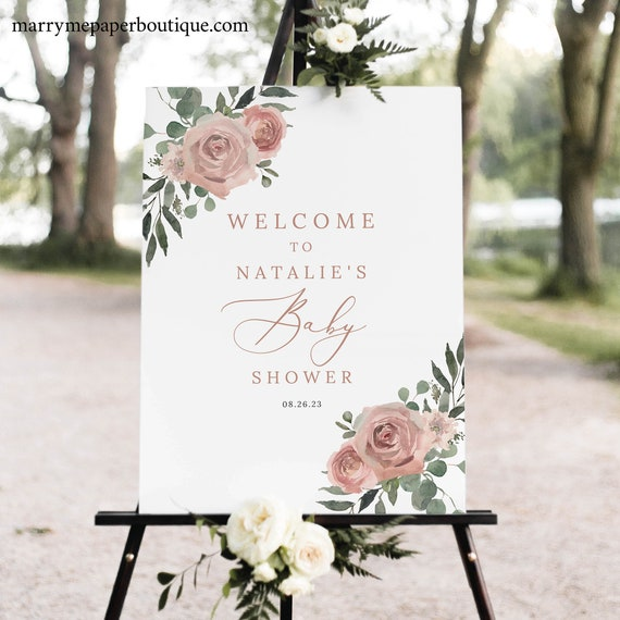 Baby Shower Welcome Sign Template, Dusky Pink Floral, Baby Shower Sign, Printable, Editable, Dusty Pink, Templett INSTANT Download