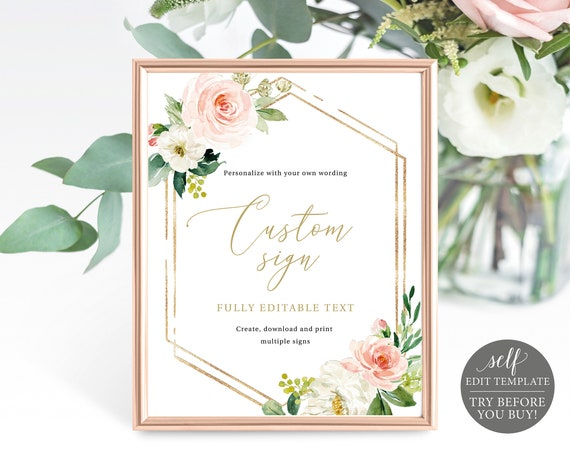 Create Multiple Signs! Editable Template, Instant Download, Pink Floral Hexagonal, TRY BEFORE You BUY