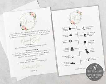 Wedding Itinerary Welcome Card Template, 5x7, Blush Pink Geometric, Try Before Purchase, Order Edit & Download In Minutes