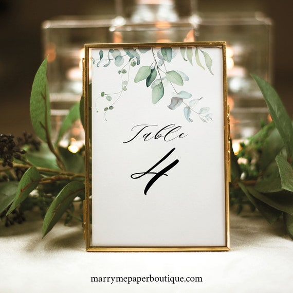 Table Number Sign Template, Green Leaves, Wedding Table Number, Printable, Editable, Templett INSTANT Download