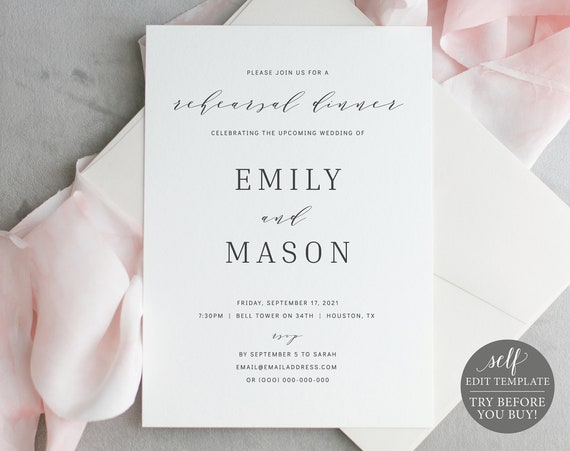 Rehearsal Dinner Invitation Template, Formal & Elegant, Editable Instant Download, TRY BEFORE You BUY