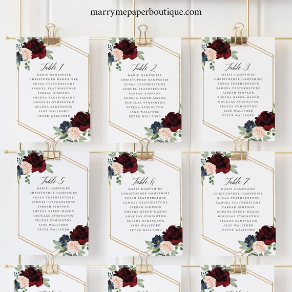 Seating Cards Template, Burgundy Navy, Templett, Editable Printable Instant Download