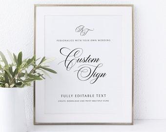 Wedding Sign Bundle Template Set, Calligraphy Monogram, Traditional Wedding, Printable Wedding Signs, Templett INSTANT Download, Portrait