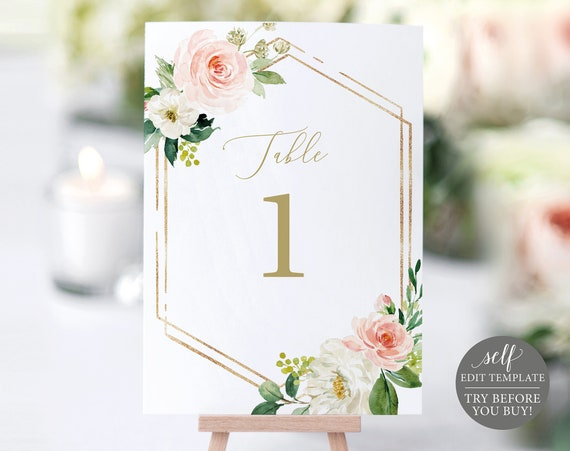 Table Number Template, TRY BEFORE You BUY, Editable Instant Download, Pink Floral Hexagonal