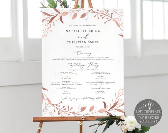 Wedding Program Sign Template, Rose Gold Foliage, Editable Instant Download, TRY BEFORE You BUY