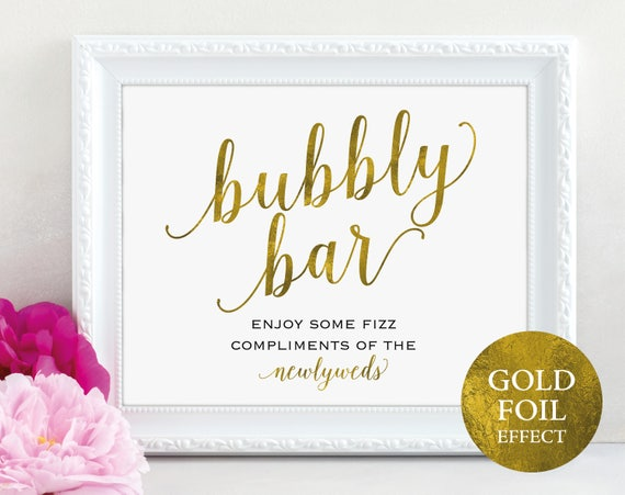 Gold Bubbly Bar Sign, Wedding Champagne Bar, Wedding Drinks, Wedding Sign, Wedding Printable, Newlyweds, PDF Instant Download, MM01-3