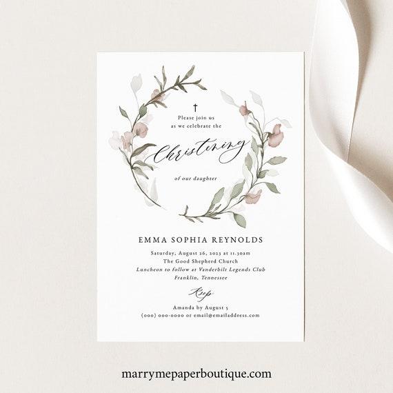 Blush Floral Christening Invitation Template, Greenery, Christening Invite, Printable, Templett INSTANT Download, Editable